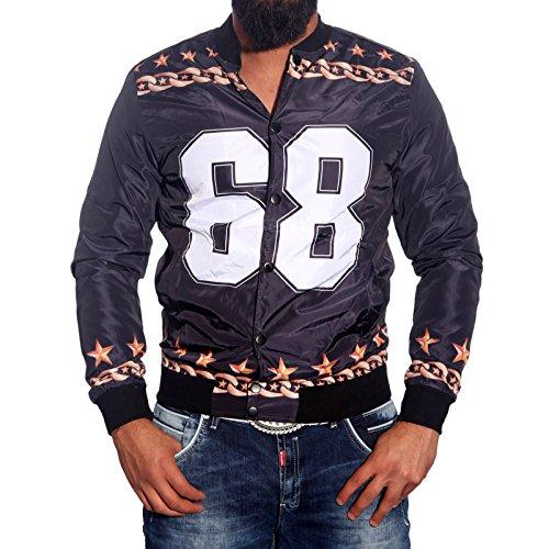 Subliminal Mode Herren Blouson Strickweste schwarz / weiß M Schwarz / Weiß