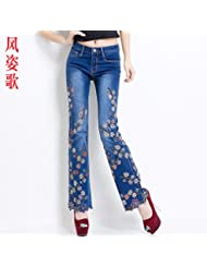 brodés jean, jean, pantalons