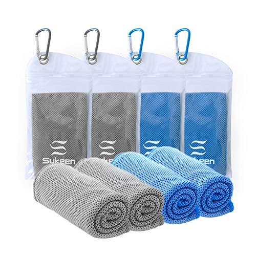 4er-Pack Kühltuch Handtuch (101.6 x 30.5cm), Eistuch, Weiches, Atmungsaktives, Kühles Handtuch, Mikrofasertuch für Yoga, Sport, Laufen, Fitness, Training, Camping, Fitness, Training und Weitere -