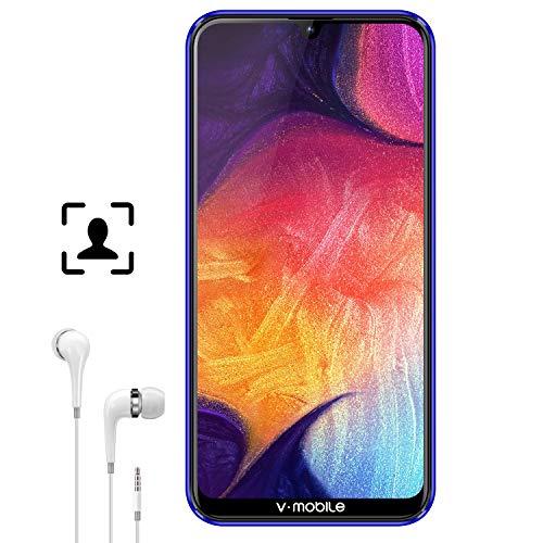 4G Téléphones Portables Débloqués Android 8.1 4Go RAM 64Go/Jusqu'à 192Go 6,62'' HD Écran goutte d'eau(19:9 Ratio) 4G Smartphone Pas Cher V mobile M9 4800mAh Caméra 12MP Face ID Bluetooth WIFI (Violet)