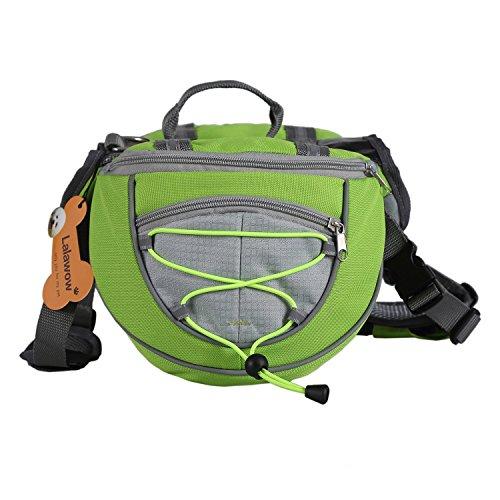 Lalawow Hunderucksack Camping Wandern Rucksack Breath Einstellbar Sattel Tasche Rucksack für Medium und Large Dog (M - Chest 27.56-31.89