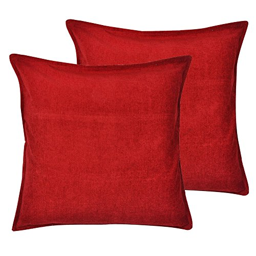 Cartoonpur 2 Piece Cotton Cushion Covers - 22 Inch x 22 Inch, Velvet Plain Red