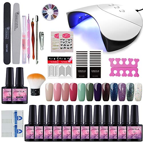 Saint-Acior Kit Vernis Gel Semi Permanent 12pc 36W Machine LED/UV Lampe Vernis A Ongle Nail Gel Soak Off UV Gel Strass Décor Nail Limes Brosse Outils Base Top Coat Kit Manucure # G12C