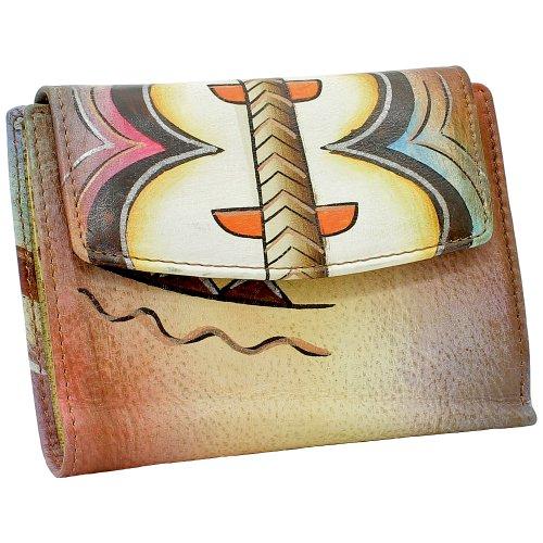 Art + Craft Edle Damen Geldbörse Portemonnaie Geldbeutel von Hand bemalt Unikat - Greenland Nature