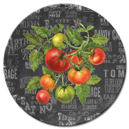 CounterArt Lazy Susan Glass Serving Plate, Chalkboard Veggies