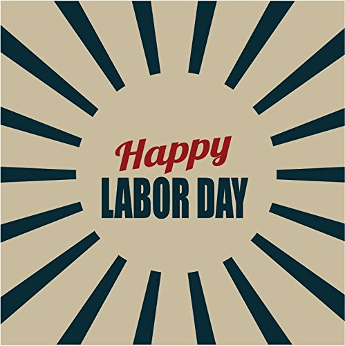 Happy Labor Day Rays Retro Hochwertigen Auto-Autoaufkleber 12 x 12 cm