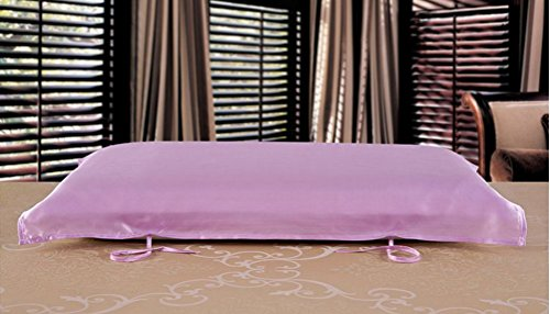 Eazyhurry 100% seta di gelso cuscino asciugamano colore solido rettangolo decorativo copertura del cuscino 73,7x 51,8cm Light Purple Light Purple