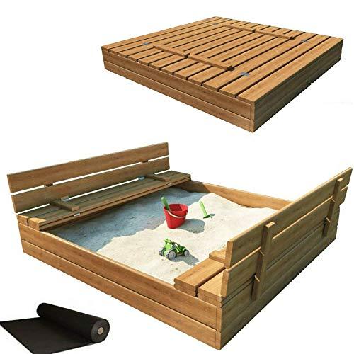 RADgermany Sandkasten Sandbox mit Deckel SITZBÄNKEN Sandkiste 120x120CM Holz