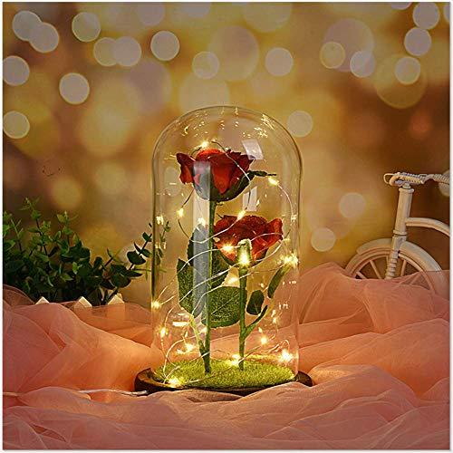 Romantische unsterbliche Blume Micro Landschaft Rose Simulation Glasschirm führte Licht...