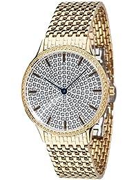 Yves Camani Damen-Armbanduhr Garonne mit vergoldetem Edelstahl-Gehäuse und silbernem mit 150 Zirkonia-Steinen besetztem Zifferblatt. Elegante Quarz Damen-Uhr mit vergoldetem Edelstahl-Armband