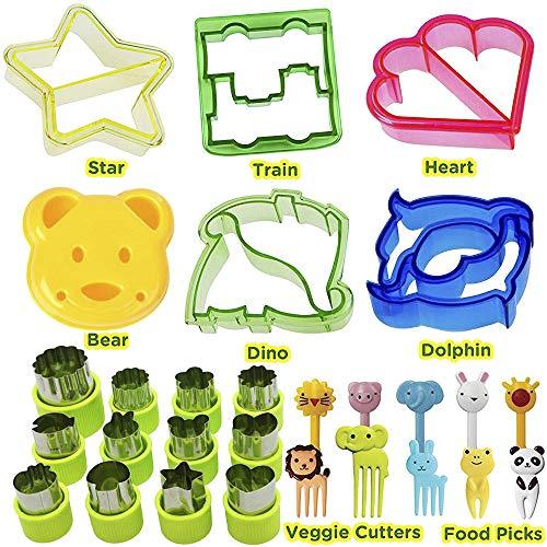 KAISHANE Kinder-Ausstecher-Set aus 24 Kunststoff-Brotschneidern-6 Stück Tierformen 8 Stück Edelstahl-Gemüseformen mit 10 Stück Obst-Pfund-Mittagessen für Kinderfutter - Dinosaurier-puzzle 24 Stück