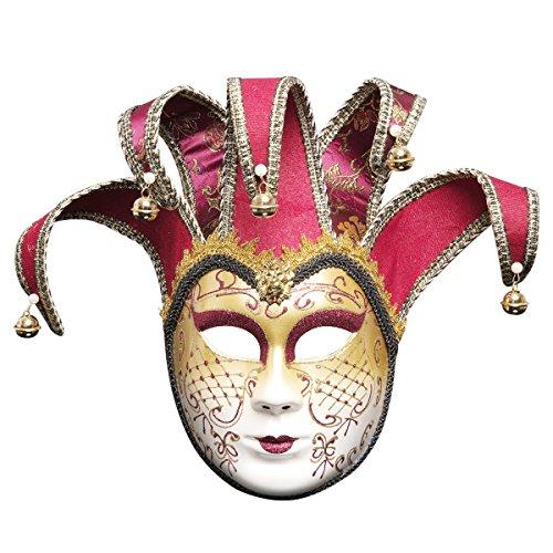 Treeshu Full Face Venezianische Jester Maske Masquerade Mardi Gras Wall Dekorative Kunstsammlung,Pink