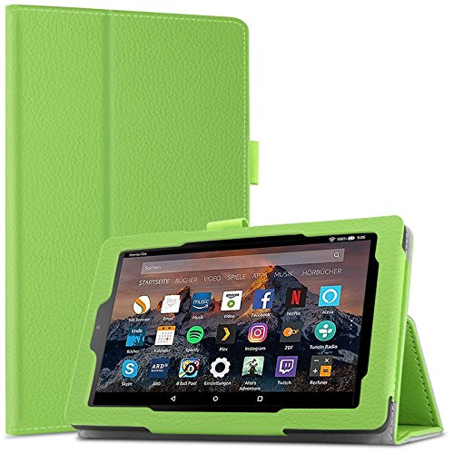 Das neue Fire 7 / Fire 7 2015 Hülle Case -Infiland Slim Fit Folio PU-lederne dünne Kunstleder Schutzhülle Cover Tasche für Amazon Fire 7 (7-Zoll-Tablet, 7. Generation - 2017) / Amazon Fire (7-Zoll-Tablet, 5. Generation - 2015 Modell)(Grün)