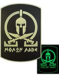 Glow Dark Spartan Molon Labe Shield Warrior Morale Tactical PVC Rubber 3D Fastener Patch