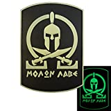 Glow Dark Spartan Molon Labe Shield Warrior Morale Tactical PVC Gomma 3D Fastener Toppa Patch