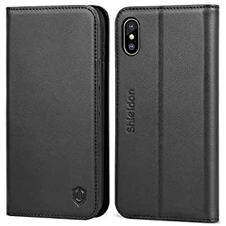 SHIELDON iPhone XS Max Case, iPhone XS Max Genuine Leather Wallet Case with[RFID Blocking][Auto Wake/Sleep][Viewing Stand][Card Slots] Folio Case Cover Compatible with iPhone XS Max(6.5
