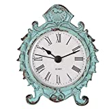 NIKKY HOME Reloj de Mesa Redonda de Cuarzo de Estilo Barroco con Soporte, Verde