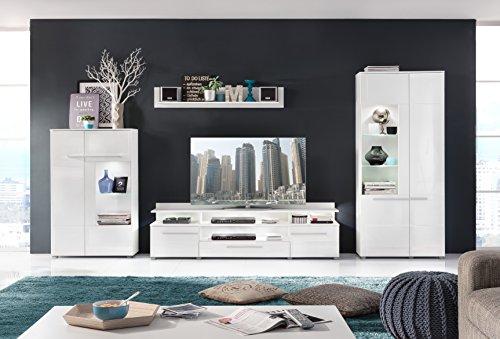 Wohnwand Wohnkombination inkl. Glaskantenbeleuchtung mit Standvitrine, Vitrine, Wandboard, TV-Board und TV-Aufsatz in Hochglanz Weiß - Neues Modell!!!