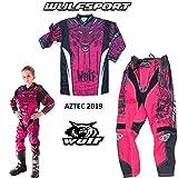 Motorradanzüge WULFSPORT AZTEC Kinder Motorradkombi Motocross-Rennkleidung Hose Jersey Anzug für MX Gokart Quad Scooter Sportkleidung, Zweiteilige Kombinationen (Rosa, 3 bis 4 Jahre)