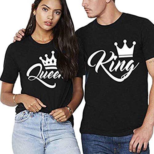 König Königin passende Paar T-Shirts Set Kurzarm Tops Tees Valentines Freund Freundin Ehemann Frau Liebe Cool Lustiges Geschenk Geschenk Sommer Männer Frauen Shirts - Erstellen Sie Ein König