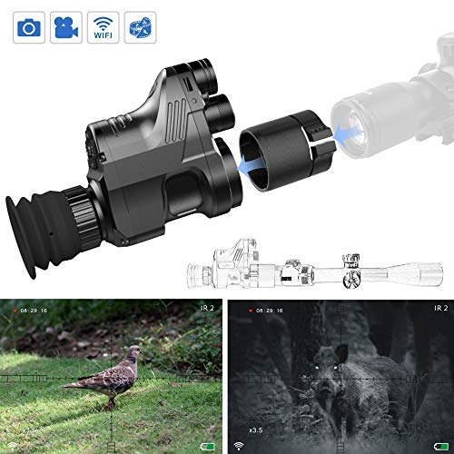 JinKeSu Pard NV007 200m 1080P HD Digitalkamera Wasserdicht Antifogging Jagd Nachtsichtgerät WiFi Optisches IR Infrarot 4X-14X Zoom Zielfernrohr Monokular (NV007 und 42mm Adapter)