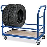 Reifenwagen, LxBxH 1130 x 527 x 890 mm, Tragkraft 250 kg, Stahlrohrkonstruktion, blau RAL 5010 kunststoffbeschichtet