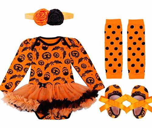 FEESHOW Baby Mädchen Bekleidungsset Stirnband + Langarm Strampler+ Beinwärmer + Schuhe Set Halloween Kostüm Orange 74-80