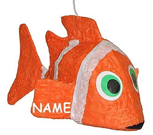 Preisvergleich Produktbild 3-D XL Pinata Clownfisch Fisch incl. Namen - Deko Kindergeburtstag für Süßigkeiten Tischdekoration Pinatas - Partydekoration Fische - Kinder Mädchen Jungen