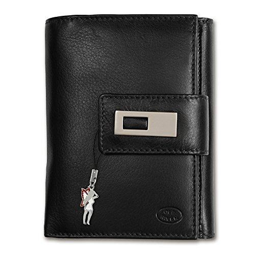 Geldbörse schwarz XL Brieftasche Portemonnaie Leder Old River großes Portmonee - DrachenLeder OPD701F (Wallet Tri-fold River)