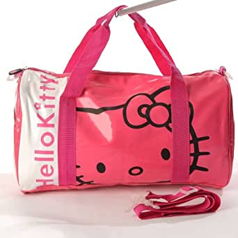 Hello Kitty Patent Leather Duffle Gym Travel Bag Tote Shoulder Rose