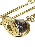 Vintage Oro Orologio da Tasca Acciaio Uomini Orologio con Catena