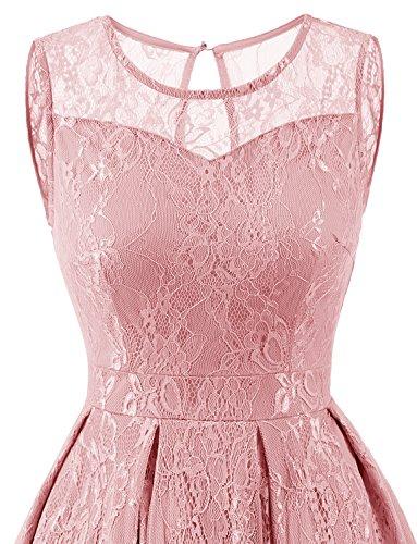 Gardenwed Damen Kleid Retro Ärmellos Kurz Brautjungfern Kleid Spitzenkleid Abendkleider CocktailKleid PartyKleid Blush