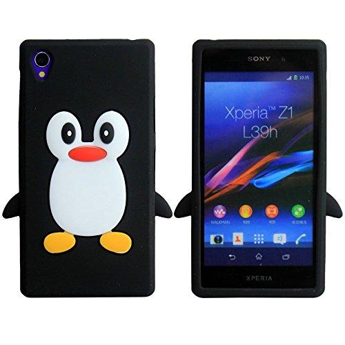 SKS Distribution® negro silicona pingüino FUNDA / CARCASA / COVER para Sony Xperia Z1