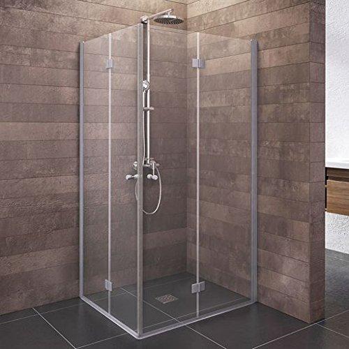 Schulte Duschkabine Alexa Style 2.0 Dreh-Falttür Eckeinstieg, 80 x 80 cm, 192 cm, 5 mm Sicherheitsglas beschichtet, Profile alu-natur, Montage auf Duschwanne oder Fliese