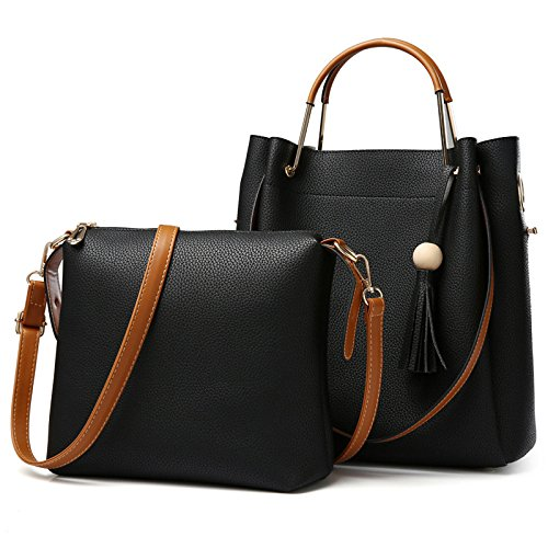 koson-man-womens-simple-style-casual-soft-leather-2-in-1-practical-tote-bags-shoulder-bagsblack