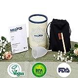 MedX5 (Upgrade 2019) Menstruationstasse aus medizinischem Silikon, Menstruationskappe inkl. Reinigungsbürste, Beutel und Geschenkbox, Größe: S, Farbe: Transparent