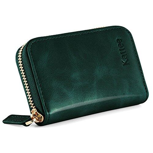 Kattee Damen echtes Leder Geldbörse Kreditkartenhalter RFID Blocking Zipper Geldbeutel Kreditkartenetui Kreditkartentaschen Grün (Leder-geldbörse Grün)