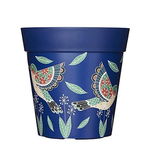 Pot de fleurs d'extérieur en plastique rose, bleu ou vert, 22cm, Plastique, Blue Hummingbirds, 5 l