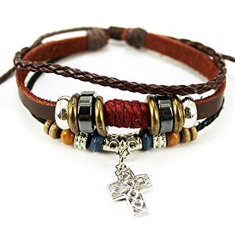MORE FUN Art Silvery Metal Cross Leather Bracelet Brown Braided Rope Handmade Adjustable Bracelet by MORE FUN