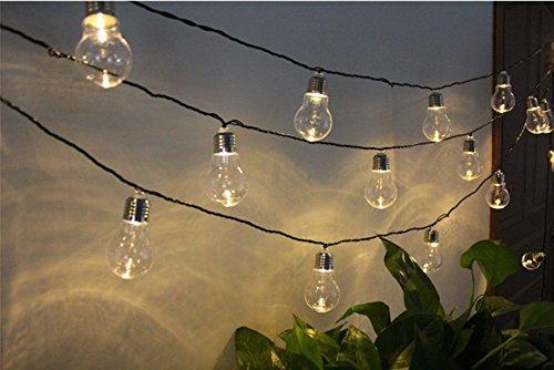 Solar Bulb Lights, EONANT 4M 10 LED Kunststoff Solar Lampen Lichterketten Wasserdicht mit 2 Modi Beleuchtung für Outdoor, Garten, Weihnachtsschmuck (Warmweiß)