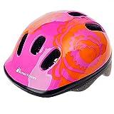 Meteor, casco da bicicletta per bambini, casco per skater. Casco di sicurezza , Fiore rosso, 44-48 cm