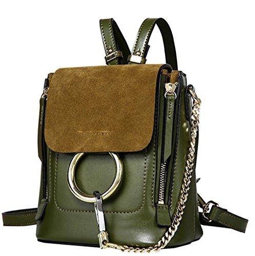 Pelle XinMaoYuan piccolo zaino zaino obliquo multiuso pacchetto Ladies Vacchetta Messenger spalla tonda Bg,grigio chiaro Verde