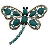 Acosta Jewellery Brosche, Aqua Blue Brot & Türkis Kristall-Brosche Libelle silberfarben