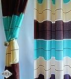 Tenda a occhiello semitrasparente Sciarpa a occhiello Sciarpa Sciarpa decorativa per finestra Tenda decorativi a colori strisce Balcone di 2 tende con occhielli 145x245 cm AGV V2