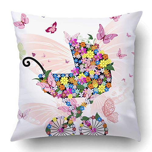 TEPEED Throw Pillow Covers Butterfly Stroller Flowers Butterflies Girl Floral Cart Party Pram Abstract Adorable Polyester 18 X 18 Inch Square Hidden Zipper Decorative Pillowcase
