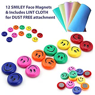 12 pcs Office Notice Board Pins, WHITEBOARD MAGNETS, Round FRIDGE MAGNETS, Smiley Face Magnets & LINT CLOTH, Schools, Call Centre, Home