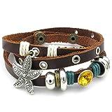 AnaZoz Femme Bracelet en Cuir Tribal Manchette Marronleather Bangle Bracelet Starfish