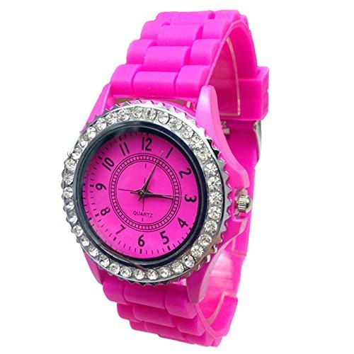Frauen Uhren, ihee Armband tragen sehr bequem Hot. Neue Geneva Silikon Golden Quarz Frauen Uhren mit Armbänder Herren/Jungen/Lady/Frauen/Mädchen Jelly armbanduhr New Fashion M hot pink