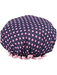 Moolecole Femmes Polka Dots Printed Double Layer Bonnet De Douche Elastic Band Shower Cap Spa Bonnet De Bain Bleu Marine