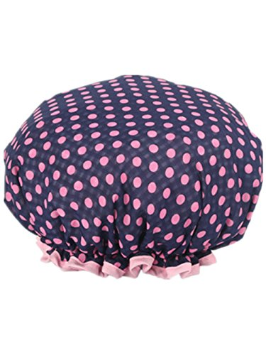 Moolecole Femmes Polka Dots Printed Double Layer Bonnet De Douche Elastic Band Shower Cap Spa Bonnet De Bain
